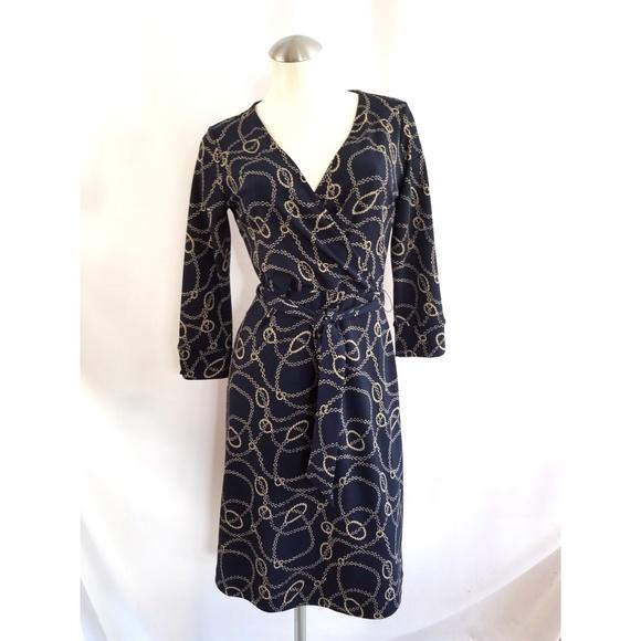 context Dresses & Skirts - Context Size PS Blue Beige Belted Dress